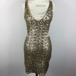 Bebe Addiction gold sequin mesh cutout dress